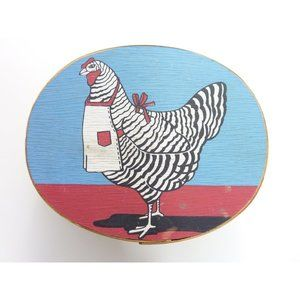 Vintage Hand Painted Barred Plymouth Rock Chicken